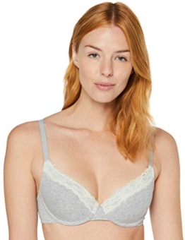 Amazon-Marke: Iris & Lilly Damen Halbschalen-BH aus Baumwolle, Grau (Grey Marl/Green), 80A, Label: 36A - 1