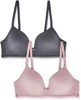 Iris & Lilly Damen Halbschalen-BH aus Modal, 2er-Pack, Mehrfarbig (Blackened Pearl/Dusty Pink), 75D, Label: 34D - 1