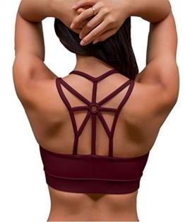 YIANNA Damen Sport BH Ohne Bügel Bequem Bustier mit Gepolstert Cup Atmungsaktiv Yoga Bra Top,UK-YA-BRA139-Red-S - 1